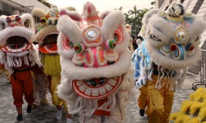 Dragons and Lions Dance in Hong Kong