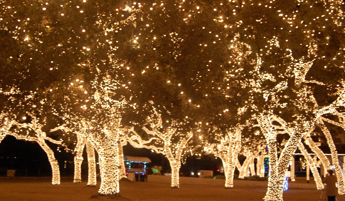 Magical Holiday lighting in Johnson City, Texas