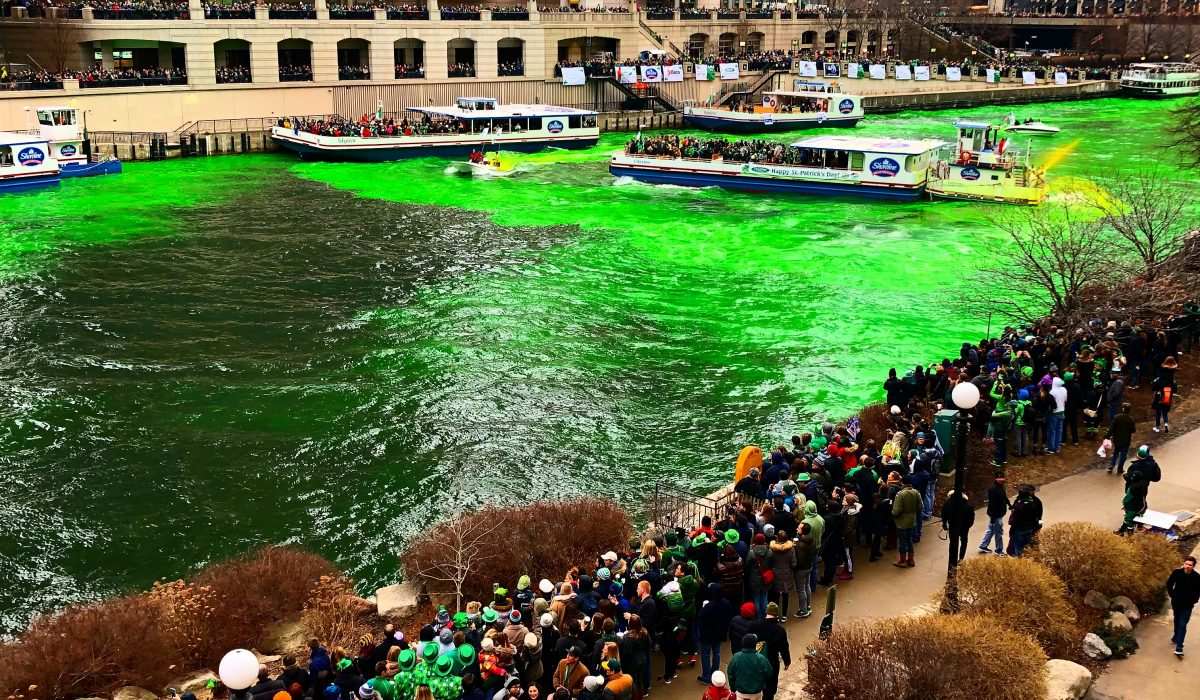 St. Patrick's Day in Chicago: Green River and Parade.